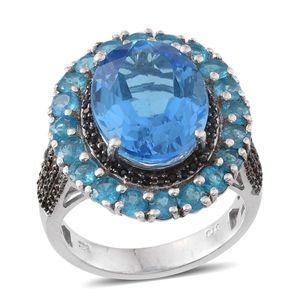Electric Blue Topaz, Malgache Neon Apatite, Thai Black Spinel Platinum Over Sterling Silver Ring (Size 6.0) TGW 14.050 cts.