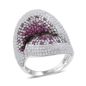 Simulated Pink and White Diamond Sterling Silver Ring (Size 7.0) TGW 5.267 cts.