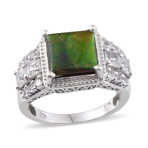 Canadian Ammolite, White Topaz Platinum Over Sterling Silver Ring (Size 8.0) TGW 4.87 cts.