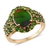 Canadian Ammolite, Russian Diopside 14K YG Over Sterling Silver Ring (Size 7.0) TGW 4.430 cts.