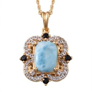 Treasures from the Orient Larimar, White Topaz, Thai Black Spinel 14K YG Over Sterling Silver Pendant With Chain (20 in) TGW 6.600 cts.