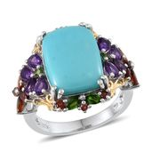 Sonoran Blue Turquoise, Amethyst, Russian Diopside, Mozambique Garnet 14K YG and Platinum Over Sterling Silver Ring (Size 6.0) TGW 10.933 cts.