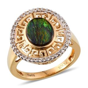 Treasures from the Orient Canadian Ammolite, White Topaz 14K YG Over Sterling Silver Ring (Size 6.0) TGW 2.420 cts.