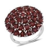Mozambique Garnet Platinum Over Sterling Silver Ring (Size 10.0) TGW 10.660 cts.