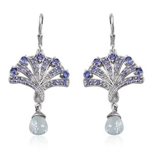 Treasures from the Orient Espirito Santo Aquamarine, Tanzanite, White Topaz Platinum Over Sterling Silver Lever Back Drop Earrings TGW 7.68 cts.
