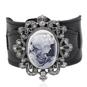 Gray Cameo, Austrian Crystal Dark Silvertone Leather Band Bracelet with Buckle (7.00 In)
