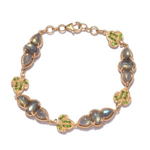 Treasures from the Orient Malagasy Labradorite, Russian Diopside 14K YG Over Sterling Silver Bracelet (7.50 In) TGW 15.350 cts.
