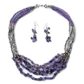 Amethyst, Purple Seed Bead Earrings and Necklace (22 in) in Stainless Steel