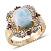 Treasures from the Orient Larimar, White Topaz, Mozambique Garnet 14K YG Over Sterling Silver Finely Detailed Ring (Size 10.0) TGW 7.420 cts.