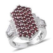Anthill Garnet, White Topaz Platinum Over Sterling Silver Ring (Size 6.0) TGW 4.940 cts.