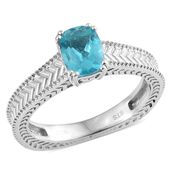 Madagascar Paraiba Apatite Platinum Over Sterling Silver Solitaire Euro Style Ring (Size 7.0) TGW 1.20 cts.