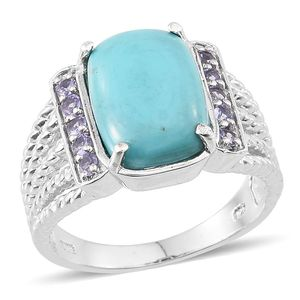 Sonoran Blue Turquoise, Tanzanite Platinum Over Sterling Silver Ring (Size 7.0) TGW 7.500 cts.