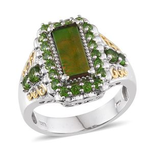 Canadian Ammolite, Russian Diopside 14K YG and Platinum Over Sterling Silver Ring (Size 7.0) TGW 2.87 cts.