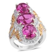 Radiant Orchid Quartz, White Topaz 14K YG and Platinum Over Sterling Silver Ring (Size 7.0) TGW 10.650 cts.