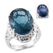 Color Change Fluorite Platinum Over Sterling Silver Ring (Size 9.0) TGW 23.00 cts.