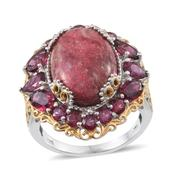 Norwegian Thulite, Orissa Rhodolite Garnet 14K YG and Platinum Over Sterling Silver Ring (Size 9.0) TGW 20.234 cts.