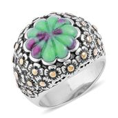 Ruby Zoisite ION Plated YG and Stainless Steel Engraved Floral Bushel Ring (Size 7.0) TGW 6.950 cts.