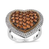Viceroy Spessartite Garnet, White Topaz 14K YG and Platinum Over Sterling Silver Heart Ring (Size 6.0) TGW 4.200 cts.