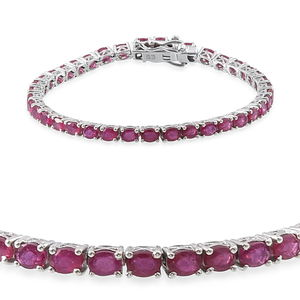 Niassa Ruby Platinum Over Sterling Silver Tennis Bracelet (7.50 In) TGW 10.56 cts.