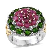 Niassa Ruby, Russian Diopside 14K YG and Platinum Over Sterling Silver Ring (Size 8.0) TGW 7.480 cts.