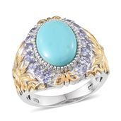 Sonoran Blue Turquoise, Tanzanite 14K YG and Platinum Over Sterling Silver Ring (Size 8.0) TGW 5.60 cts.