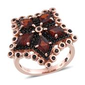 GP Mozambique Garnet, Multi Gemstone 14K RG Over Sterling Silver Ring (Size 7.0) TGW 5.100 cts.