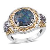 Australian Mosaic Opal, Tanzanite 14K YG and Platinum Over Sterling Silver Ring (Size 8.0) TGW 4.300 cts.