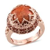Treasures from the Orient Sponge Coral, Mozambique Garnet 14K RG Over Sterling Silver Ring (Size 6.0) TGW 7.830 cts.