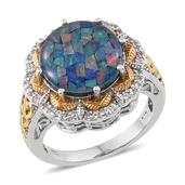 Australian Mosaic Opal, White Topaz 14K YG and Platinum Over Sterling Silver Ring (Size 8.0) TGW 6.400 cts.