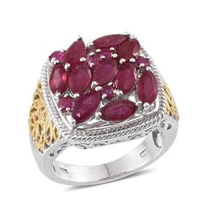 Niassa Ruby 14K YG and Platinum Over Sterling Silver Openwork Cluster Ring (Size 7.0) TGW 5.97 cts.