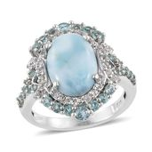 Larimar, Madagascar Paraiba Apatite, White Topaz Platinum Over Sterling Silver Split Ring (Size 6.0) TGW 6.91 cts.