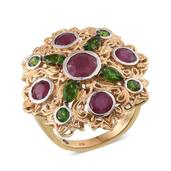 Royal Jaipur Niassa Ruby, Russian Diopside 14K YG and Platinum Over Sterling Silver Openwork Statement Ring (Size 6.0) TGW 4.78 cts.