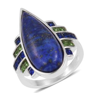 Lapis Lazuli, Austrian Crystal Stainless Steel Ring (Size 6.0) TGW 20.00 cts.