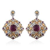 Royal Jaipur Carved Ruby, Niassa Ruby 14K YG and Platinum Over Sterling Silver Openwork Dangle Earrings TGW 10.38 cts.