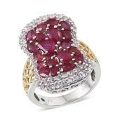 Niassa Ruby, White Topaz, Boyaca Colombian Emerald 14K YG and Platinum Over Sterling Silver Ring (Size 7.0) TGW 7.860 cts.