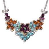 GP Multi Gemstone 14K YRG and Platinum Plated Sterling Silver Necklace (18 in) TGW 13.085 cts.