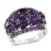 Lusaka Amethyst Platinum Over Sterling Silver Cluster Ring (Size 8.0) TGW 6.080 cts.