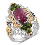 Royal Jaipur Ruby, Russian Diopside, Tanzanite 14K YG and Platinum Over Sterling Silver Openwork Elongated Ring (Size 11.0) TGW 10.710 cts.