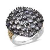 Bondi Blue Tanzanite 14K YG and Platinum Over Sterling Silver Cluster Statement Ring (Size 7.0) TGW 7.690 cts.