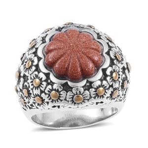 Red Goldstone ION Plated YG and Stainless Steel Ring (Size 7.0) TGW 15.000 cts.
