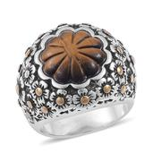 South African Tigers Eye ION Plated YG and Stainless Steel Ring (Size 8.0) TGW 7.150 cts.