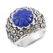 Lapis Lazuli ION Plated YG and Stainless Steel Floral Engraved Ring (Size 7.0) TGW 6.50 cts.