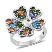 GP Multi Gemstone Platinum Over Sterling Silver Flower Ring (Size 6.0) TGW 2.612 cts.