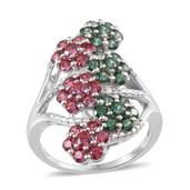 J Francis - Platinum Over Sterling Silver Ring Made with Multi Color SWAROVSKI ZIRCONIA (Size 7.0) TGW 5.650 cts.
