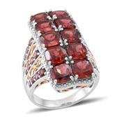 Mozambique Garnet 14K YG Over and Sterling Silver Ring (Size 11.0) TGW 13.500 cts.