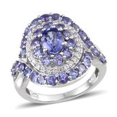 Tanzanite, White Zircon Platinum Over Sterling Silver Sophisticated Ring (Size 7.0) TGW 4.81 cts.