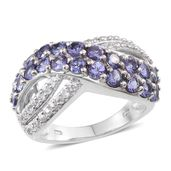 Tanzanite, White Zircon Platinum Over Sterling Silver Criss Cross Ring (Size 6.0) TGW 3.250 cts.