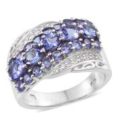 Tanzanite, White Topaz Platinum Over Sterling Silver Modern Ring (Size 6.0) TGW 3.600 cts.