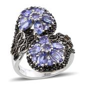 Tanzanite, Thai Black Spinel Platinum Over Sterling Silver Floral Bypass Ring (Size 9.0) TGW 4.430 cts.