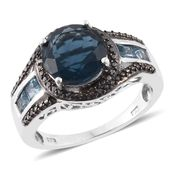 Belgian Teal Fluorite, Electric Blue Topaz, Black Diamond Platinum Over Sterling Silver Graceful Swirl Ring (Size 6.0) TGW 5.25 cts.